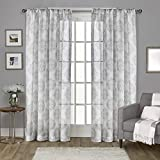 Cheap Exclusive Home Nagano Medallion Belgian Linen Rod Pocket Curtain Panel Pair, Dove Grey, 54×108, 2 Piece