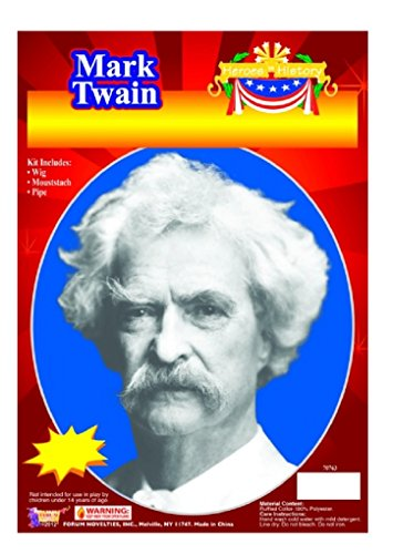 [Child Heroes in History Instant Disguise Kit - Mark Twain - Wig, Moustache, and Pipe] (Mark Twain Costumes)