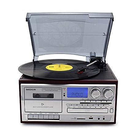 Bluetooth Tocadiscos LP Vinilo Record Reproductor CD/Cassette ...
