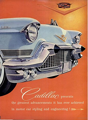 """1957 CADILLAC SIXTY SPECIAL & ELDORADO BIARRITZ CONVERTIBLE """"...presents the greatest advancements..."""" HUUUUGE VINTAGE DOUBLE PAGE COLOR AD - USA - GREAT ORIGINAL !!"""