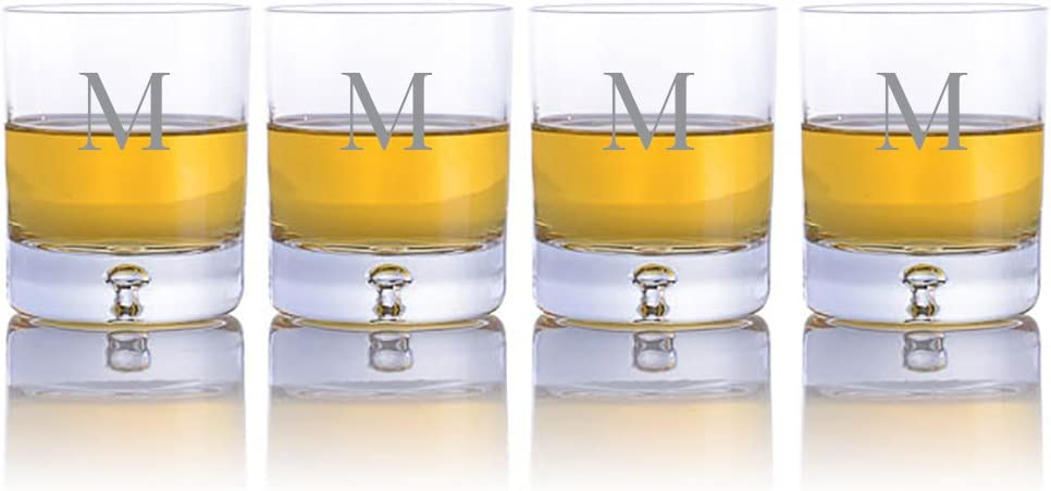 Amazon Com Personalized Ravenscroft Lead Free Crystal 4 Pc Taylor Dof Whiskey Glasses Engraved Monogrammed Perfect For Christmas And The Holidays Old Fashioned Glasses