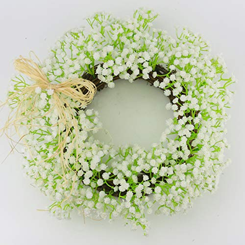 (Ogrmar Christmas Artificial Flower Wreath/Handmade Floral Artificial Simulation Flowers Garland Wreath for Home Front Door Christmas Wedding Party Decoration (Gypsophila)