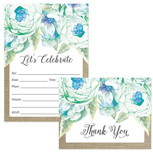 Occasion Any Invitation - Any Occasion Invitations & Matching Thank You Notes Set with Envelopes ( 25 of Each ) Lovely Blue Flower Blooms Birthday Party Bridal Shower Fill-in-Style Invites & Folded Thank You Cards Great Value