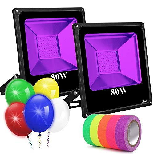 UV Black Lights for Parties, 2 Pack 80W UV Led Flood Light Blacklight Ultraviolet Lamp, for Fluorescent Neon Glow in The Dark, Halloween Christmas Decorations, DJ Disco Stage Night Club, Body Paint