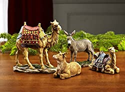 Traditional Nativity Animal Figurines Deluxe 4 Piece Resin Stone Set