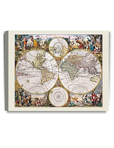 DECORARTS- Antique World Travel Map Giclee Print. Vintage map Canvas Art for Wall Decor, 20x16 -