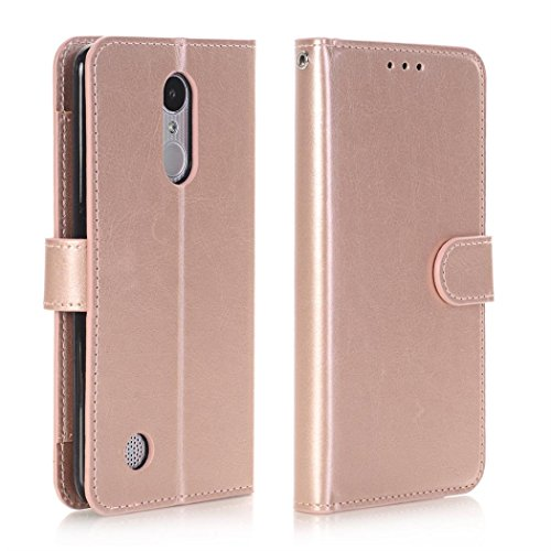 For LG Fortune/Phoenix 3/Rebel 2/K4 2017, Mchoice Wallet Flip Case Cover With Card Slots And Stand (Rose Gold) ()