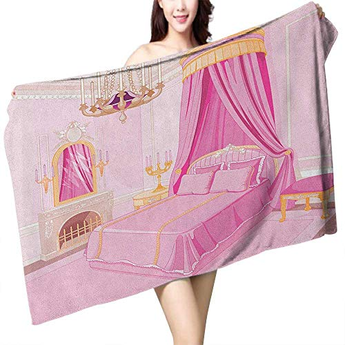 homecoco Sauna Towel Princess Interior of Magic Princess Bedroom Old Fashioned Ornament Pillow Mirror Print W28 xL55 Suitable for bathrooms, Beaches, Parties ()