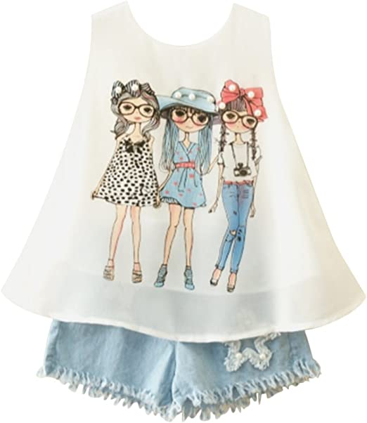 Little Girls Shorts Set Outfits Sleeveless Printed Chiffon Shirts Denim Jeans Shorts 2018 Summer Newest Arrival