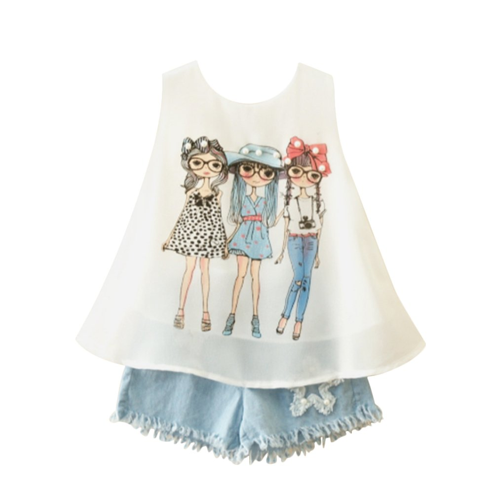 Little Girls Shorts Set Outfits Sleeveless Printed Chiffon Shirts Denim Jeans Shorts 2018 Summer Newest Arrival (White, 4-5 Years)