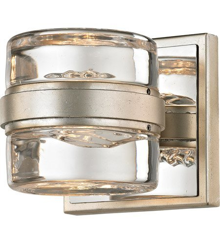 Bathroom Vanity 1 Light with Silver Leaf and Polished Chrome Finish Hand-Worked Iron and Pressed Glass Material Wedge Base 5 inch Wide 4 Watts
