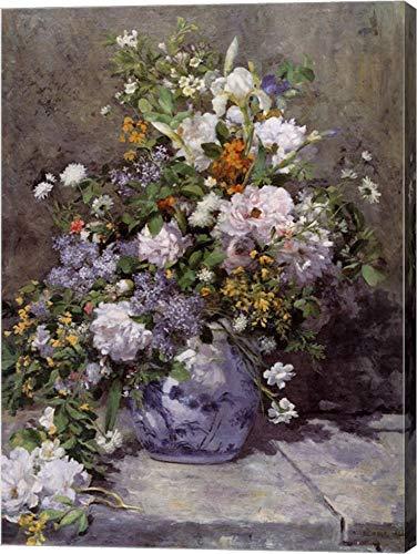 Grande Vaso DI Fiori by Pierre-Auguste Renoir Canvas Art Wall Picture, Gallery Wrap, 9 x 12 inches