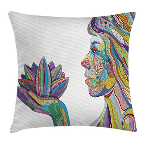Ambesonne Eastern Throw Pillow Cushion Cover, Yoga Woman with Lotus Flower with Ornamental Boho Lines Design Oriental, Decorative Square Accent Pillow Case, 16