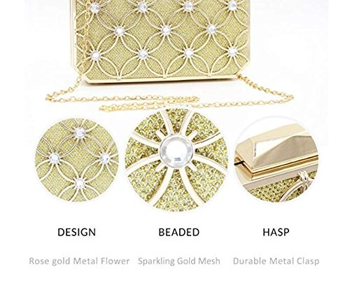 and GSHGA with Evening Pattern Floral Bridal and Gold Crytals Clutches for Women Bags Glitter Handbags Purses Clutch Metallic r4pqwZxOr
