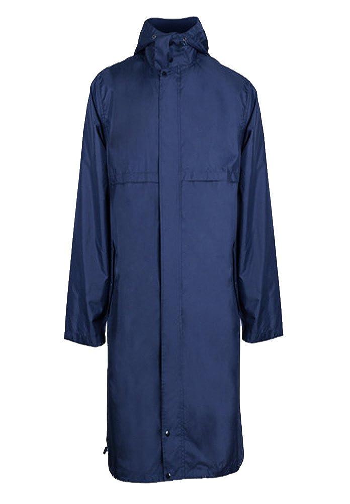 QZUnique Men's Fashion Outdoor Waterproof Packable Zipper Rain Jacket Poncho Raincoat with Hood GBD-XZM-R-9003-heise