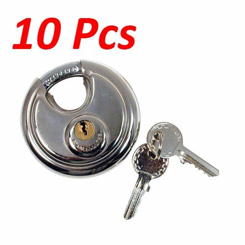 Wideskall Heavy Duty 2-3/4'' inch Stainless Steel Disc Round Padlock (Pack of 10)