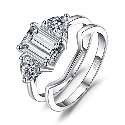 JewelryPalace Emerald Cut 2.7ct Cubic Zirconia 3 Stone Wedding Bridal Ring Set 925 Sterling Silver Size (Emerald Color Cubic Zirconia Ring)