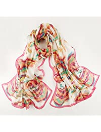 nwn Silk Scarf Print Embroidery Embroidered Spring Silk Scarf Long Wild Sun Shawl Shawls Beach Towels (Length: 175 * 110cm, Packing of 1) (Color : C)