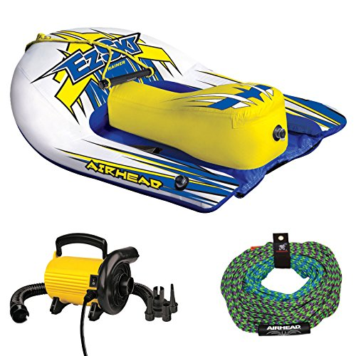 Airhead EZ Ski Inflatable Trainer Kids Single Skier Tube with Tow Rope & Pump