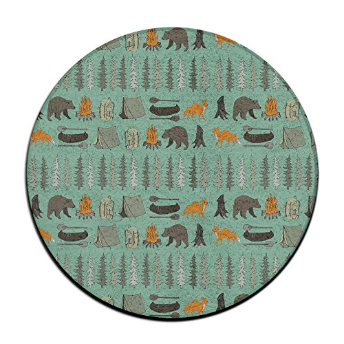 Woodland Camping Forest Life Round Floor Rug Doormats For Home Decorator Dining Room Bedroom Kitchen Bathroom Balcony