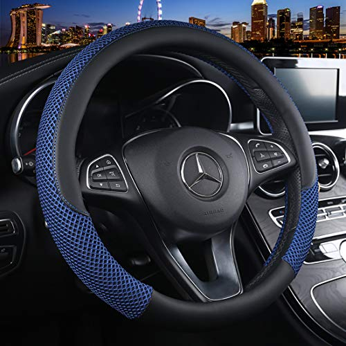 Cxtiy Universal Car Steering Wheel Cover Cool for Summer Warm for Winter Steering Wheel Cover Fit Most of Cars SUV Auto Vehicle (C-Blue)