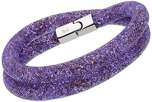 Wrap Swarovski Around Bracelet (Swarovski Stardust 5120044 Purple Crystals Double wrap Bracelet - M)