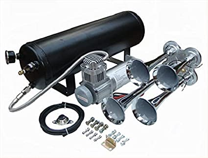 Viking Horns V107C-3//4008B Loud 149 Decibels Black Four Trumpet Train Air Horn System Kit