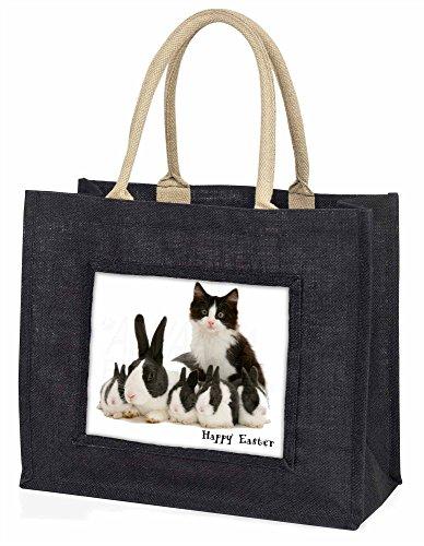 Advanta–Große Einkaufstasche Kaninchen und Kätzchen Happy Easter Große Einkaufstasche Weihnachtsgeschenk Idee, Jute, schwarz, 42x 34,5x 2cm