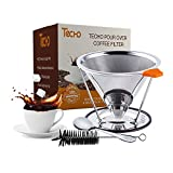 TECHO Resuable Pour Over Coffee Filters Stainless Steel Cone Drip...