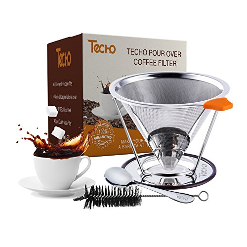 TECHO DIY Pour Over Reusable Coffee Filters 4 Cups Stainless Steel Cone Dripper with Stand Spoon Brush