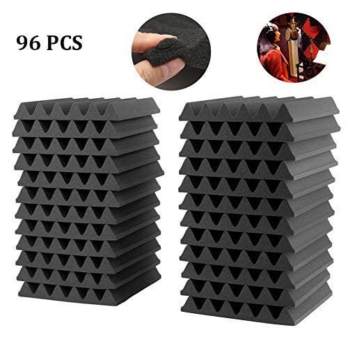 Acoustic Foam Panels, Soundproofing Foam Studio Acoustic Wedge Foam Tiles Sound Treatment Room Absorption Panels Insulation Voice Foam 1 X 12 X 12 inch (96 Black)
