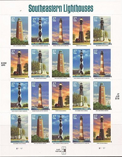 2003 SOUTHEASTERN LIGHTHOUSES #3791a Pane of 20 x 37 cents US Postage (Octagonal Tower)