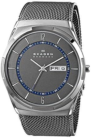 amazon com skagen men s skw6078 melbye grey titanium mesh watch skagen men s titanium mesh watch blue accents