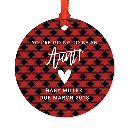 Andaz Press Personalized Pregnancy Announcement Metal Christmas Ornament, You're Going to be an Aunt! Baby Miller Due 2018, Country Buffalo Red Plaid, 1-Pack, Includes Ribbon and Gift Bag
