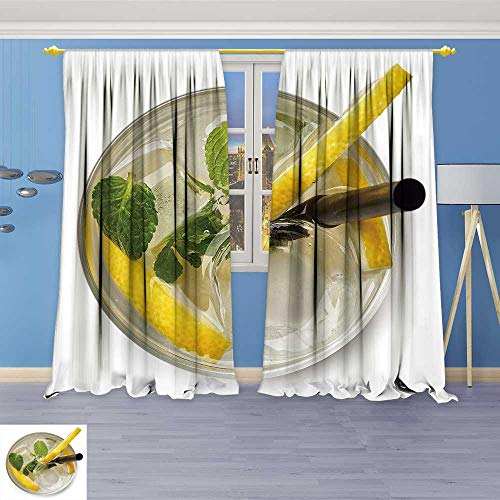 SOCOMIMI Antique Decor Collection, soda Drink with Lemon Slices and Mint Isolated,Living Room Bedroom Curtain 2 Panels Set, 120W x 108L (Antique Soda Machines)
