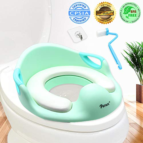 Potty Training Seat, PETUOL Toddlers Boys Girls Toilet Trainer Seat with Detachable Soft Cushion Sturdy Handle and Backrest Baby Toilet Training Seat with Non-Slip Rubber Grip Green Color