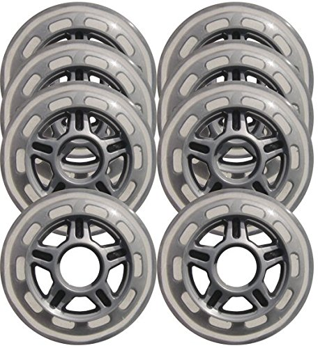 KSS Inline Skate 78A Wheels (8 Pack) with 5-Spoke hub, 80mm, Clear/Silver