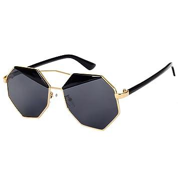 Cikuso Gafas de Sol octagono Diseno de Espejo (Negro ...