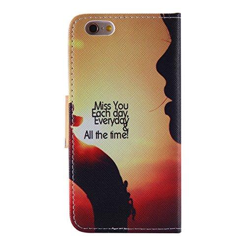 """iPhone 6 / iPhone 6S (4.7"""") Coque , Apple iPhone 6 / iPhone 6S (4.7-inch) Coque Lifetrut® [ Miss You ] Luxe Premium Portefeuille Flip mignon Coque TPU souple Folio en cuir PU intégré dans la carte Slo"""