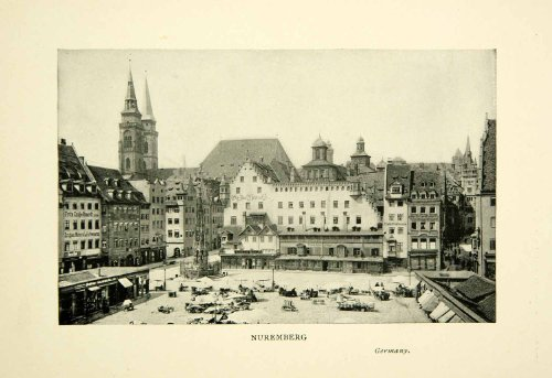 Germany Deutschland Bavaria Cityscape Square Marketplace - Original Halftone Print (Bavaria Square Print)