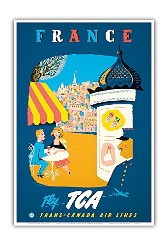 (France - Fly TCA, Trans-Canada Air Lines - View of Paris - Vintage Airline Travel Poster by Jacques Le Flaguais c.1954 - Master Art Print - 13in x 19in)
