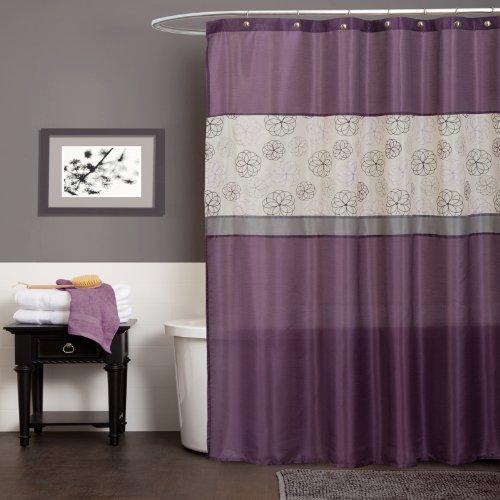 Lush Decor Covina Shower Curtain, Purple (Grey And Purple Shower Curtain)
