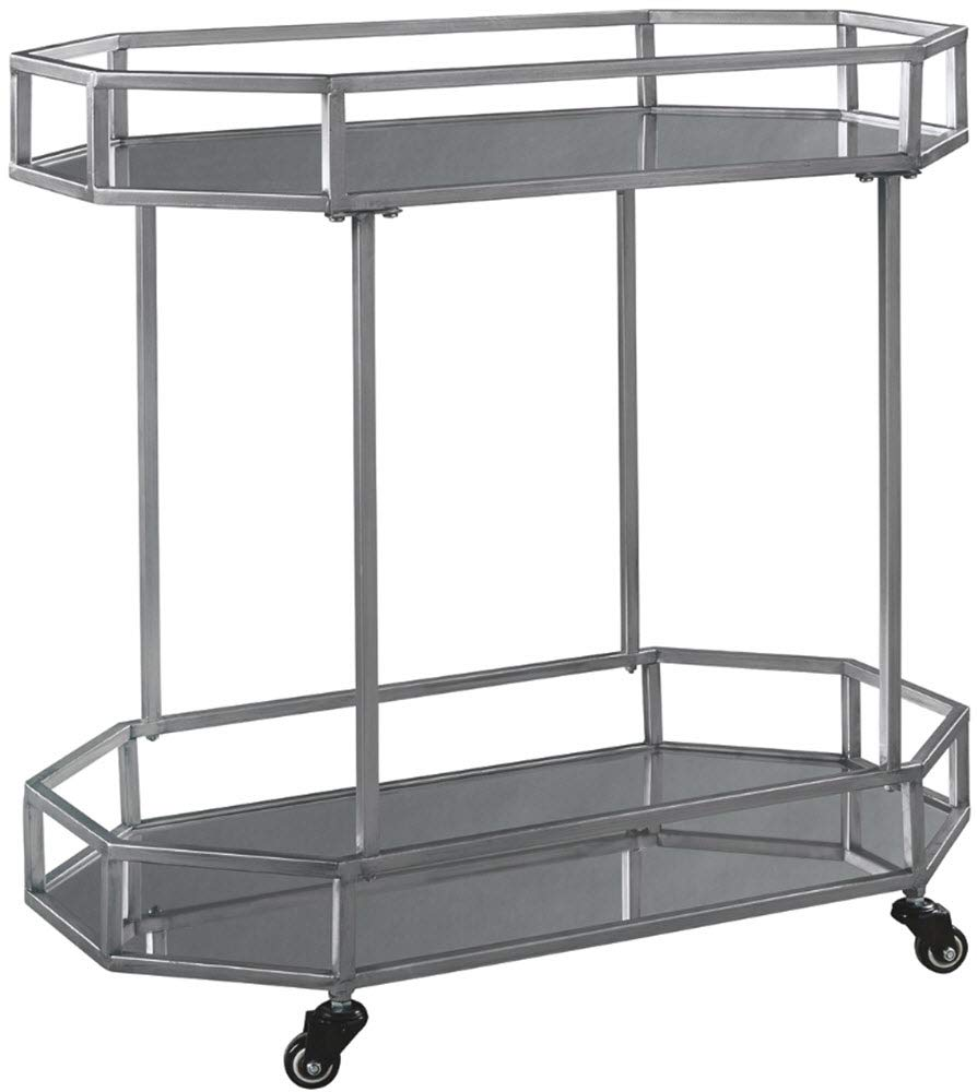 Ashley Furniture Signature Design - Kadinburg Bar Cart - Contemporary Chic - Silver Finish by Signature Design by Ashley