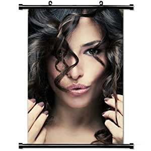 Girly Wall Posters,Brunette Face Make Up Smile Look Model Hairstyle Stylish and Custom Wall Scroll Poster Fabric Painting 23.6 X 35.4 Inch (60cm X 90 cm)