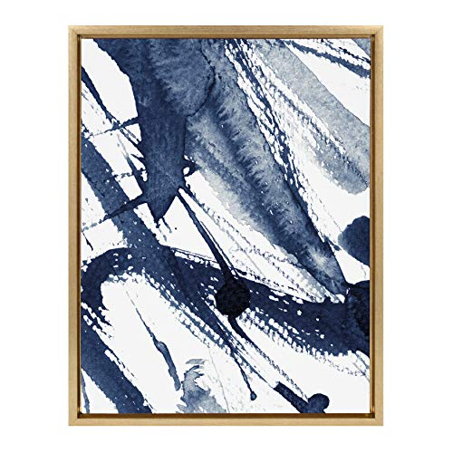 (Kate and Laurel Sylvie Indigo Watercolor Abstract Print Framed Canvas Wall Art by Amy Peterson, 18x24 Gold)