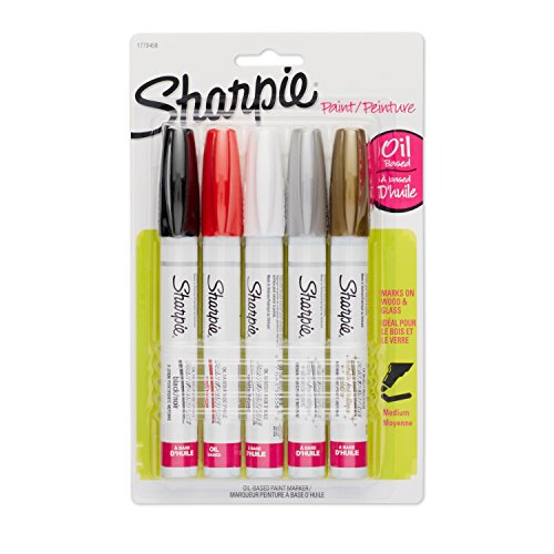 Sharpie Oil-Based Paint Markers, Medium Point, Assorted & Metallic Colors, 5 Count - Great for Rock Painting