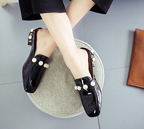 Perla Mujer Zapatillas PU de Zapatos Zapatos de caseros Negro Piel Negro Exterior de Plana de de Moda Brillante Suela Zapatillas DANDANJIE y Primavera Zapatos Piso de Verde Pwa77I1q