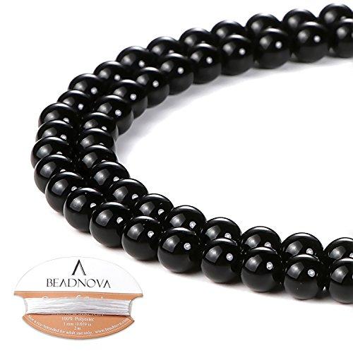 - BEADNOVA 4mm Black Onyx Gemstone Round Loose Beads for Jewelry Making (94-96pcs)