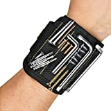 Magnetic Wristband, Toyoo Magnetic Wristband with 10 Strong Magnets for Holding Tools, Screws, Nails, Bolts, Drill Bits, Screwdriver (Black)