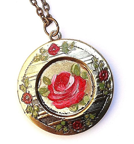 Round Flower Locket - Romantic Hand Painted Pink Rose Flower Round Vintage Style Locket Pendant Necklace